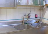 Sink a steel industrial kitchen in the school canteen — Стоковое фото