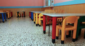 Chairs of a refectory of the school canteen — Stock Photo