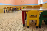 Chairs of a refectory of the school canteen in the pre-school — Stock Photo