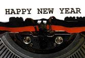 Typewriter Types HAPPY NEW YEAR Closeup — Zdjęcie stockowe