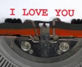 Typewriter Types I LOVE YOU Closeup — Zdjęcie stockowe