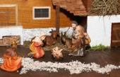Nativity scene with Holy family traditional Neapolitan style — Stock Photo