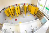 Small bathroom of a school for children with water closet — Stockfoto