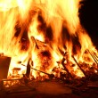 Flames of fire during a scary fire of a dwelling — Stock Photo #61769003