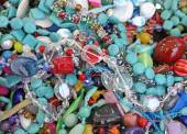 Necklaces  on sale in the market stall — Stock Photo