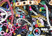 Colorful necklaces  on sale in the market stall — Zdjęcie stockowe