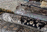 Oriental carpets for sale in the shop of rugs — Foto de Stock