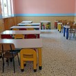 Постер, плакат: Refectory of kindergarten with small tables and chairs for child