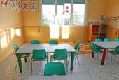 Kindergarten class with the chairs and children's decorations — Stock Photo