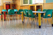 Kindergarten class with the green chairs — Fotografia Stock