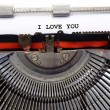 Written typewriter I LOVE YOU with black ink — Stock Photo #62865691