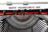 Written typewriter Happy Valentines Day — Stock Photo