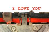 Written typewriter I LOVE YOU with red ink — Stock Photo