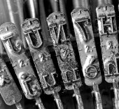 Detail of levers of an old typewriter — Stock Photo