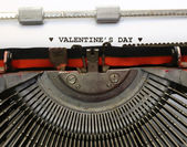 Written with the typewriter Valentines Day in black ink — Stock Photo