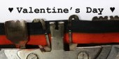Written with the typewriter Valentines Day — Stock Photo