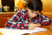 Young boy writes on his notebook at home — Stock Photo