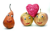 Two apples with the heart and a PEAR — Stock Photo