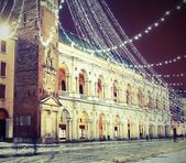 Vicenza, Piazza dei Signori, with illuminations and snow — Stock Photo