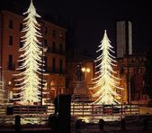 Vicenza, Piazza Matteotti, with illuminations and snow — Stock Photo