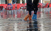 People with leggings and boots at high tide in Venice — Stock Photo