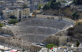 Roman amphitheatre in Amman Citadel in national historic site — Stock Photo