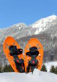 Modern snowshoes in the mountain — Stock Photo