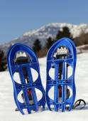 Blue snowshoes in the mountain — Stock Photo