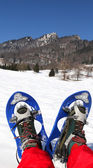 Man with blue modern snowshoes in the mountain — Stock Photo
