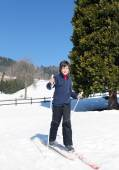 First time with cross-country skiing — Stock Photo