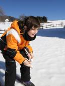 Young boy for first time with cross-country skiing — Stock Photo