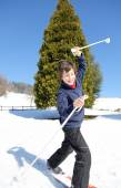 Young boy  falls with cross-country skis — Stock Photo
