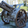 Gun of World War I in open-air museum in Italy — Stock Photo #67869543