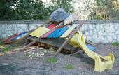 Slide broken and abandoned in a deserted playground — Stock Photo