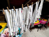 Rags hung to dry in the laundry room in the attic of a kindergar — Stock Photo