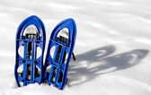 Blue SNOWSHOES for excursions on the snow — Stock Photo