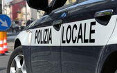 Italian police car during the roadblock in the road — Stock Photo