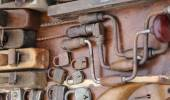 Hand drill old rusty padlocks and planers in the stand of flea m — Stock Photo