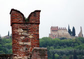 Battlements of the castle on the walls to protect the soldiers — Stock Photo