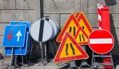 Road signs in police storage — Stock Photo