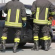 Постер, плакат: Firefighters in action during the car accident
