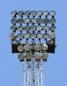 Lighting tower with bright spotlights for illuminating sports fa — Stock Photo