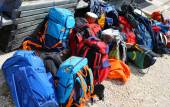 Backpacks of hikers before departure in the high mountains — Стоковое фото