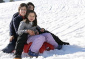Three smiling siblings over the sled in winter — Stock Photo