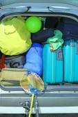 Luggage and suitcases when leaving for family summer holidays — Stock Photo