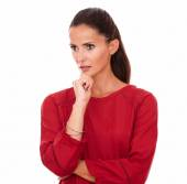 Reflective young lady looking to her right — Stock Photo