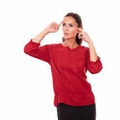 Reflective latin girl with wondering gesture — Stock Photo
