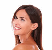Latin woman showing her facial care — Stock Photo