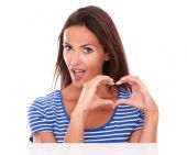 Lovely young female with heart sign — Foto de Stock