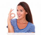 Cheerful cute female gesturing great job — Stock Photo